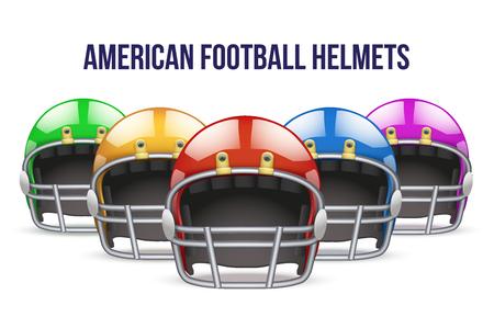 jugadores de futbol: Conjunto de realista casco de fútbol americano azul. Equipo deporte ilustración. Vector Aislado en el fondo. Vectores
