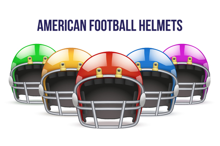 Set of Realistic Blue American football helmet. Equipment sport illustration. Vector Isolated on background.