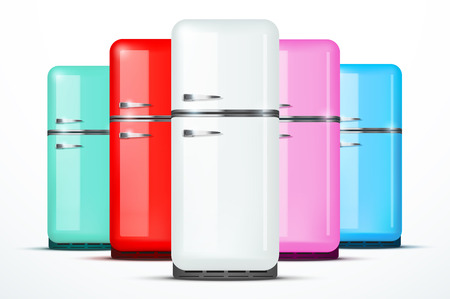 refrigerator with food: Set of Retro Fridge refrigerator in white color. Household appliances. Vector isolated on white background