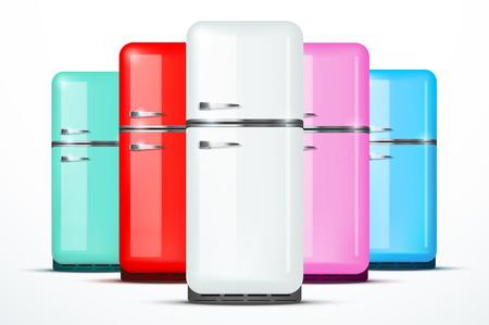 Vintage Kühlschrank Rot : Retro kühlschrank kühlschrank im retro farben rot haushaltsgeräte