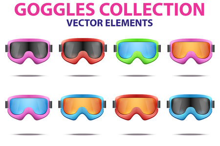 ski goggles: Set of Classic snowboard ski goggles with colorful glass. Vector isolated on white background