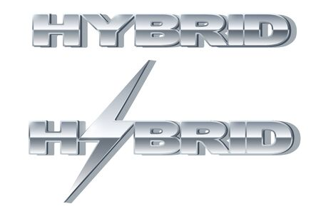 automobile industry: Silver letters Hybrid with lightning on metallic glossy surface. Car and automobile industry. Vector Illustration. Illustration