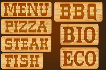 nameplate: Nameplate of wood with words Menu Grill Steak Pizza and BBQ. Vector Illustration isolated background Illustration