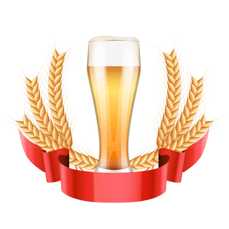 Brewery Label with light beer glass and grain malt. Vector Illustration isolated on white background. Vector