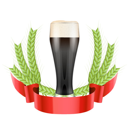 Brewery Label with dark beer glass and green grain malt. Vector Illustration isolated on white background. Vector