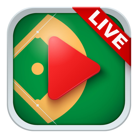 sports application: Application icon for baseball live sports broadcasts or games. Illustration of sporting field and play button. Illustration