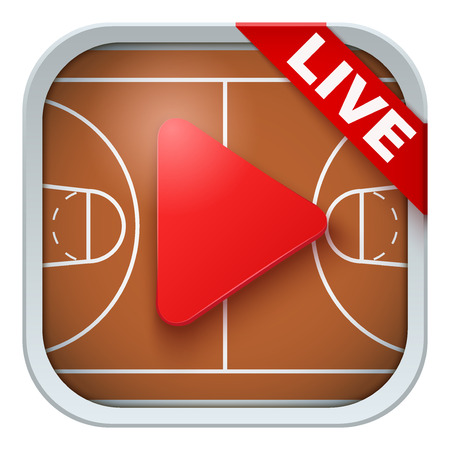 sports application: Application icon for basketball live sports broadcasts or games. Illustration of sporting field and play button. Illustration
