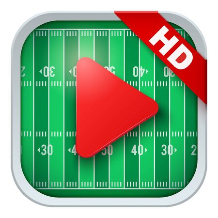 sports application: Application icon for american football live sports broadcasts or games. Illustration of sporting field and play button.