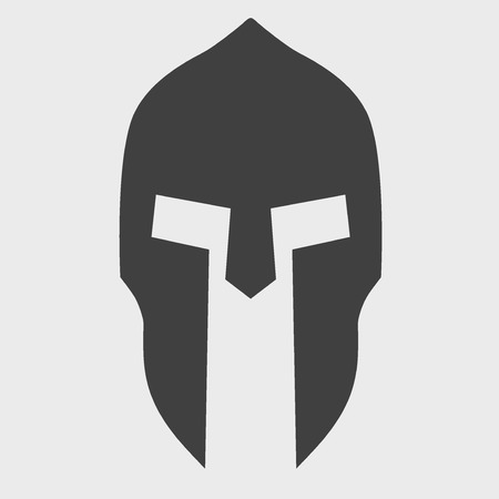 Silhouette of Spartan helmet. Vector Illustration isolated on background. Иллюстрация