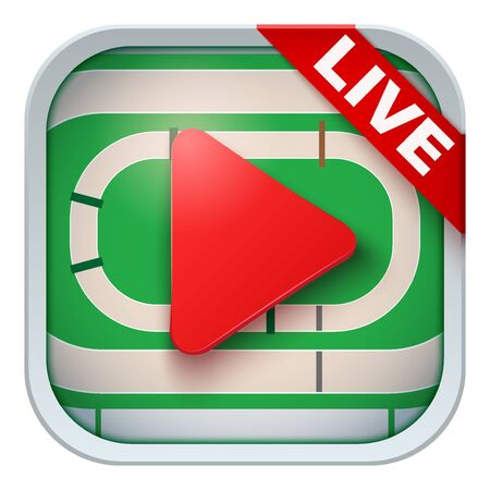 sports application: Application icon for hippodrome live sports broadcasts or games. Illustration of sporting field and play button. Illustration