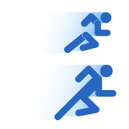 運動で人を動かしています。白い背景に分離して実行の単純な記号です。ベクトルの図。