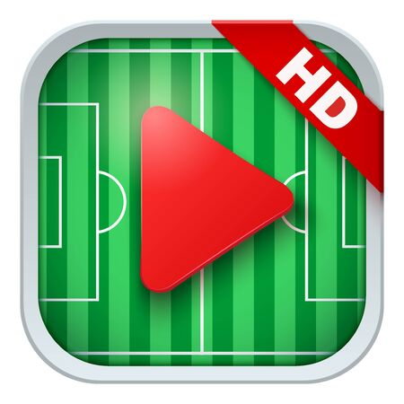 sports application: Application icon for soccer live sports broadcasts or games. Illustration of sporting field and play button. Illustration