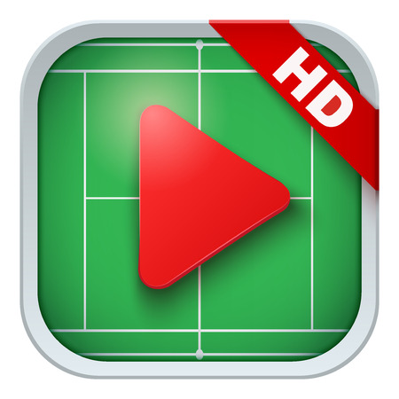 sports application: Application icon for tennis live sports broadcasts or games. Illustration of sporting field and play button. Illustration