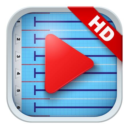 sports application: Application icon for water pool live sports broadcasts or games. Illustration of sporting field and play button. Illustration
