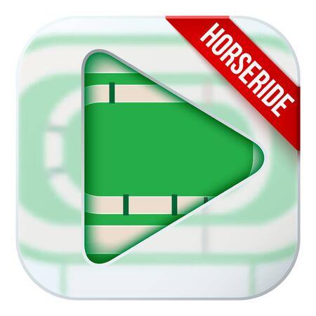matting: Icono de la aplicaci�n de las retransmisiones deportivas en directo hip�dromo o juegos. Ilustraci�n del campo deportivo bajo un cristal estera y el bot�n de reproducci�n.