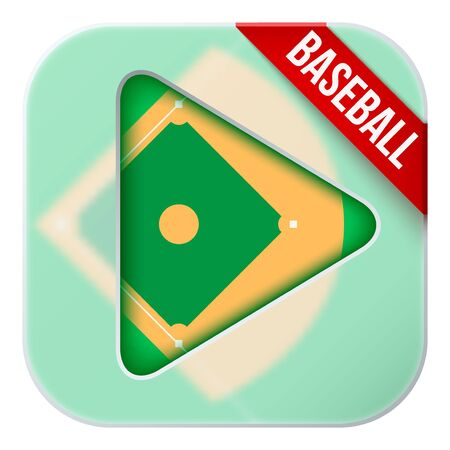 sports application: Application icon for baseball live sports broadcasts or games. Illustration of sporting field under matting glass and play button.