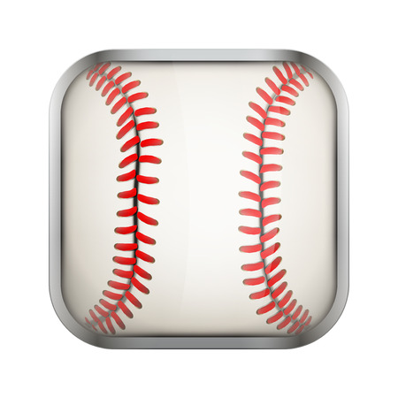 sports application: Square icon for baseball sports application or games. Illustration of sporting field and play button.