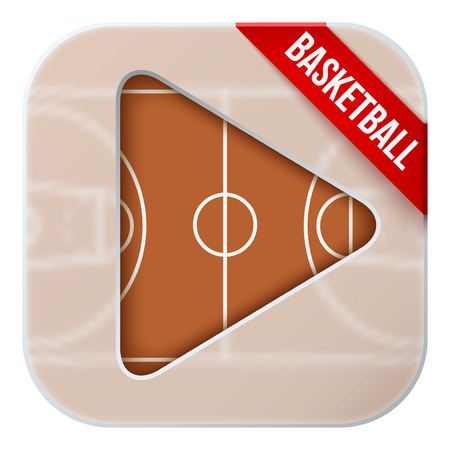 sports application: Application icon for basketball live sports broadcasts or games. Illustration of sporting field under matting glass and play button. Illustration