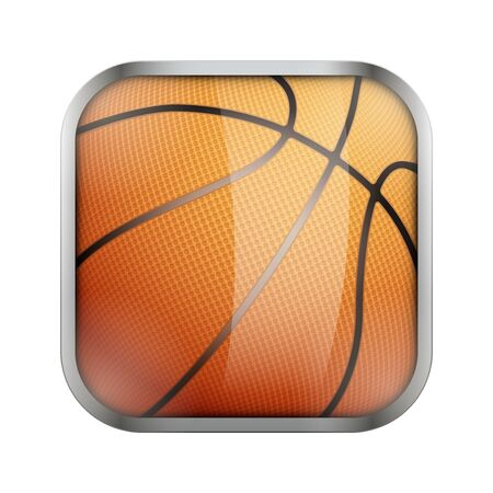 sport balls: Square icon for basketball sports application or games. Illustration of sporting field and play button. Illustration