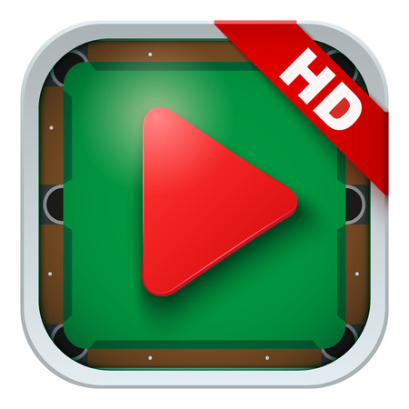 sports application: Application icon for billiard live sports broadcasts or games. Illustration of sporting field and play button. Illustration