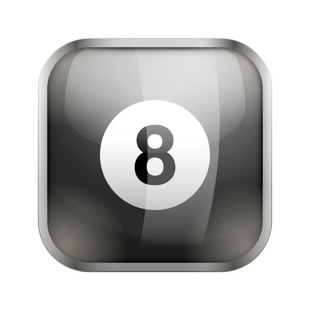 sports application: Square icon for billiard sports application or games. Illustration of sporting field and play button.