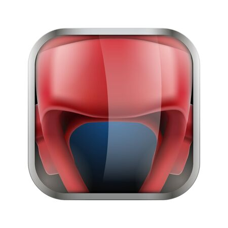 sports application: Square icon for boxing sports application or games. Illustration of sporting field and play button.