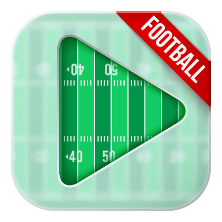 american downloads: Application icon for american football live sports broadcasts or games. Illustration of sporting field under matting glass and play button. Illustration