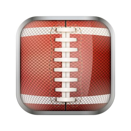 sports application: Square icon for american football sports application or games. Illustration of sporting field and play button. Illustration