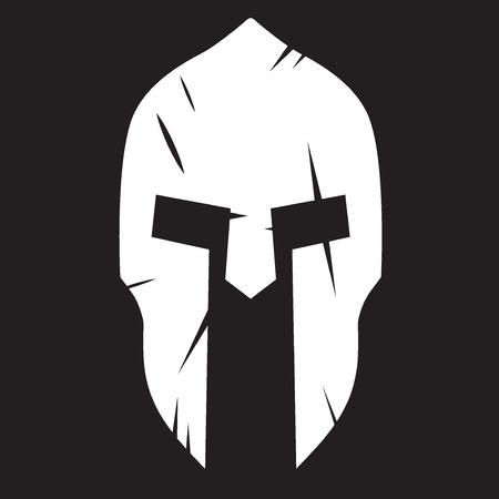 Silhouette der Spartaner Helm mit Kratzern aus Schock. Vector Illustration isoliert auf Hintergrund.