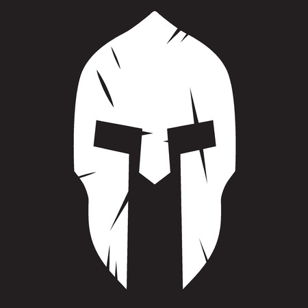 warriors: Silhouette of Spartan helmet with scratches from shock. Vector Illustration isolated on background.