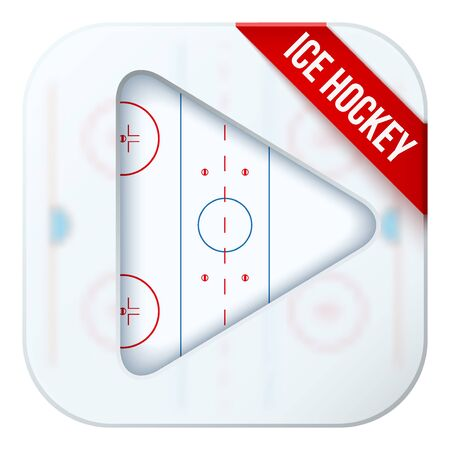 sports application: Application icon for ice hockey live sports broadcasts or games. Illustration of sporting field under matting glass and play button.