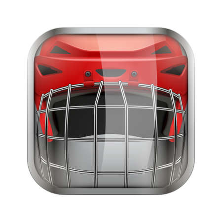 sports application: Square icon for ice hockey sports application or games. Illustration of sporting field and play button.