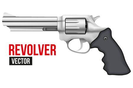 gunshot: Big Revolver. Silver bright metal. Vector Illustration isolated on white background. Illustration