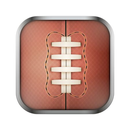 sports application: Square icon for rugby sports application or games. Illustration of sporting field and play button.