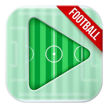 sports application: Application icon for football live sports broadcasts or games. Illustration of sporting field under matting glass and play button.
