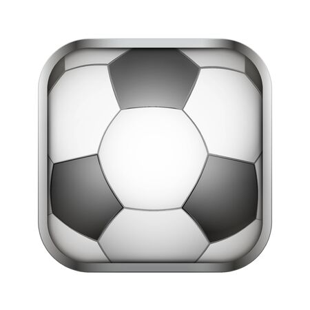 sports application: Square icon for football sports application or games. Illustration of sporting field and play button.