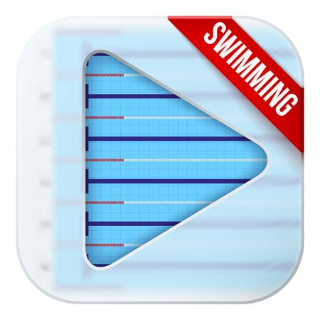 sports application: Application icon for swimming pool live sports broadcasts or games. Illustration of sporting field under matting glass and play button. Illustration