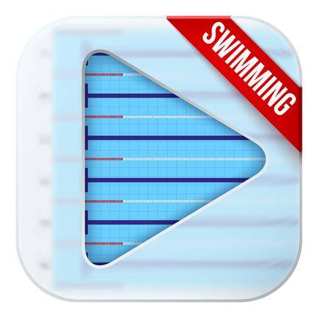 matting: Icono de la aplicaci�n para la piscina transmisiones deportivas en vivo o juegos. Ilustraci�n del campo deportivo bajo un cristal estera y el bot�n de reproducci�n.