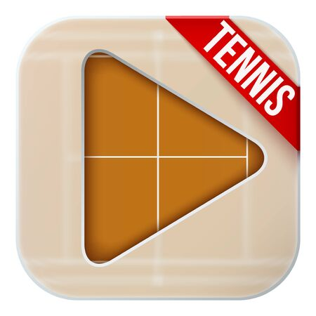 sports application: Application icon for tennis live sports broadcasts or games. Illustration of sporting field under matting glass and play button. Illustration
