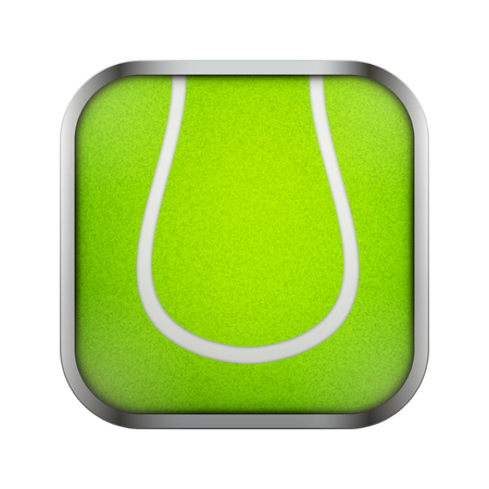 sports application: Square icon for tennis sports application or games. Illustration of sporting field and play button.