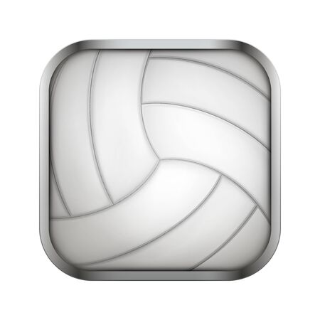sports application: Square icon for volleyball sports application or games. Illustration of sporting field and play button.