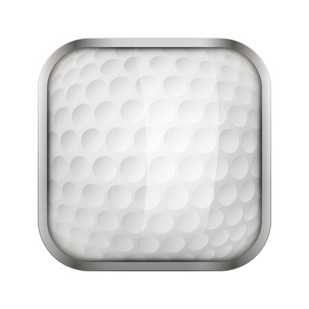 sports application: Square icon for golf sports application or games. Illustration of sporting field and play button.