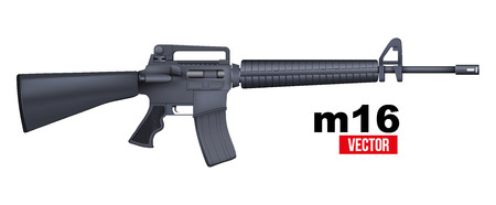 m16: M16 rifle. Vector Illustration isolated on a white background