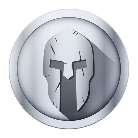 arte greca: Icona metallo rotonda di casco Spartan con graffi da shock. Illustrazione vettoriale isolato su sfondo.