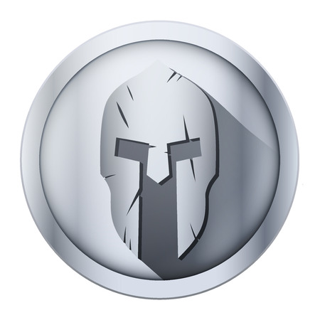 Round metal icon of Spartan helmet with scratches from shock. Vector Illustration isolated on background.