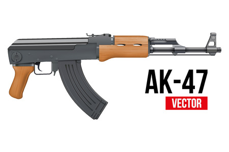 ak 47: Russian automatic machine rifle AK 47. Vector Illustration isolated on white background.