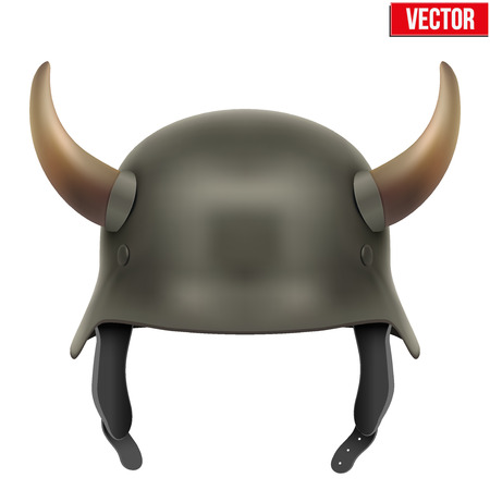 german fascist: German Army helmet with horns. Vector Illustration isolated on a white background Illustration