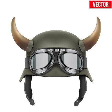german fascist: German Army helmet with horns and protective goggles. Vector Illustration isolated on a white background