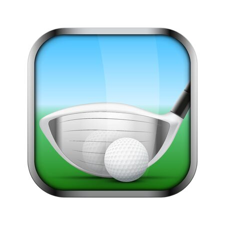 sports application: Square icon for golf sports application or games. Golf clubs and ball.  Illustration of sporting field and play button. Illustration