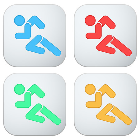 Set of Flat icon with symbol Running men. . Vector isolated on a white background. Vector